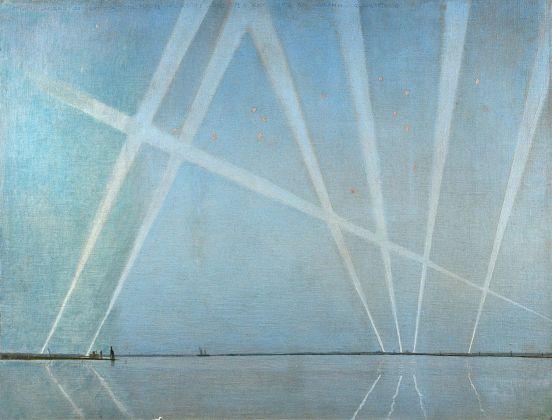 Giulio Aristide Sartorio, Attacco di Venezia del 5 febbraio 1918 alle ore 6.30 visto da Murano, olio su tela.