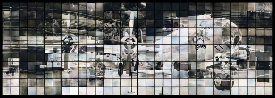 "Takashi Arai (Kawasaki, Giappone, 1978) Maquette per un monumento multiplo per B29: Bockscar, dalla serie ""Esposto in cento soli"", 2014 A Maquette for a Multiple Monument for B29: Bockscar, from the series ""Exposed in a Hundred Suns"", 2014 dagherrotipo / daguerrotype 72,7 × 219,7 © Takashi Arai. Courtesy of Howard Greenberg Gallery"