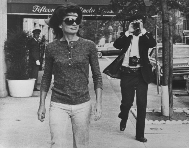 Jacqueline Kennedy Onassis and Ron Galella on Madison Avenue, New York. October 7, 1971. ©Ron Galella