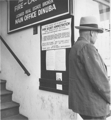 Tulare County, Calif., Street entrance to FSA Office, 1938
