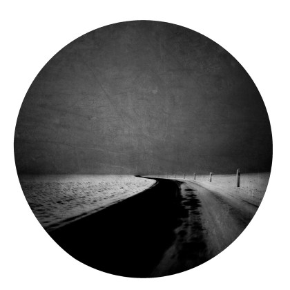 """Vincent Descotils, Series Les sentinelles, """"La route noire"""", 2017, Charcoal print mounted on a wooden board, Diameter of 17 cm, Edition: 5 + 2 AP, Courtesy:Courcelles Art Contemporain"""