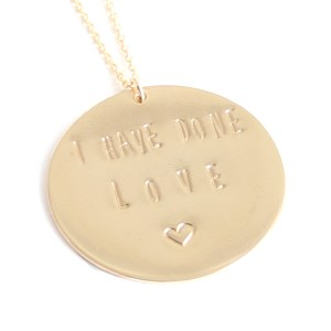 Click necklace to order the 14K gold filled necklace. 40% off the regular price of $88. Code: IHAVEDONELOVE