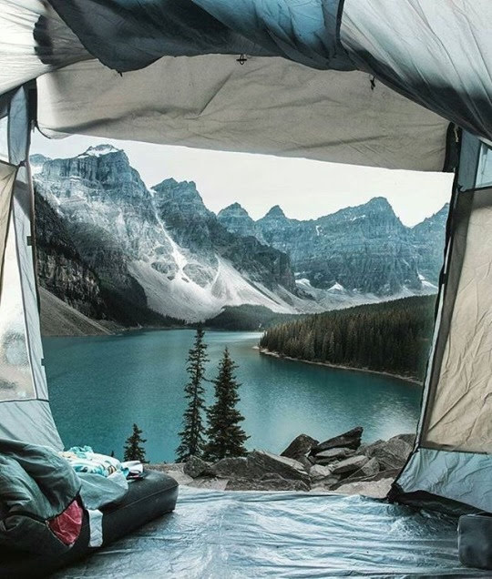 mountain lake view from tent