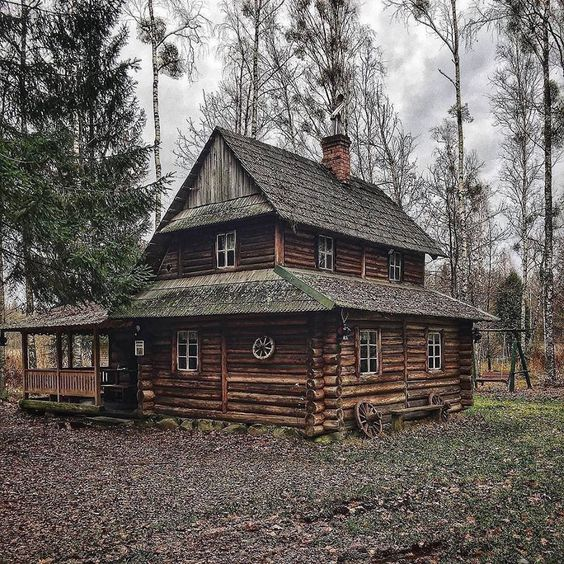 two story rustic cabin