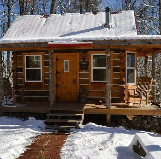 manly cabin in the snow