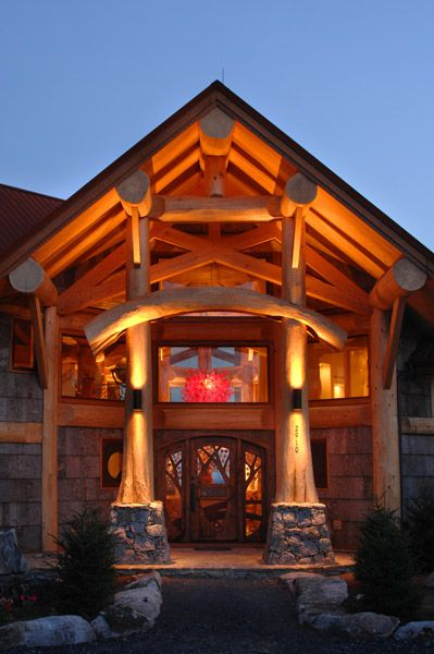 grand entryway of wood home