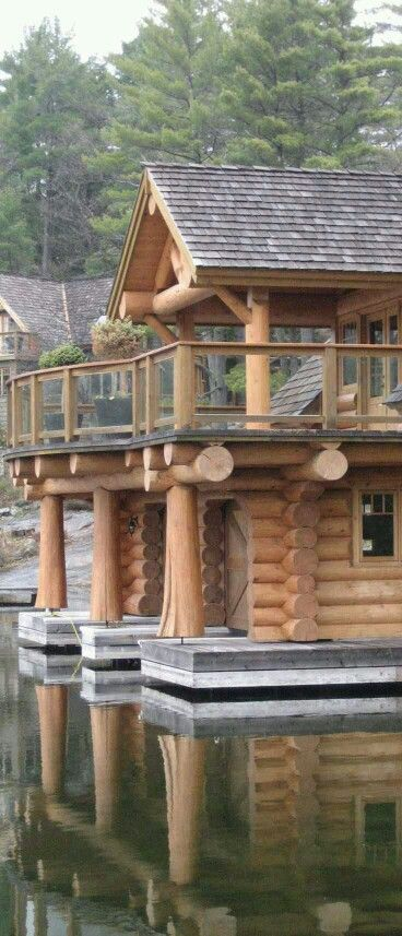 log cabin on the waterfront