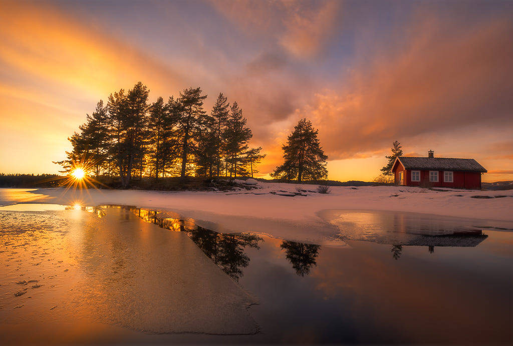 red house sunset