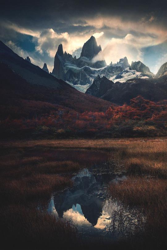 dramatic mountain scene
