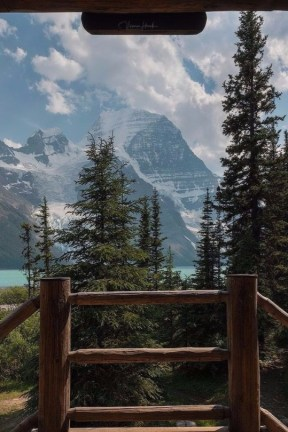 mountain and lake view from a deck