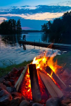 campfire by lake