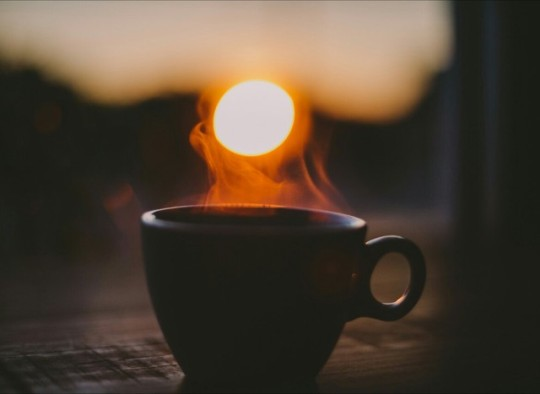 coffee outside at sunrise