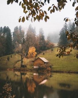 fall cabin lake