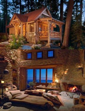 interior and exterior of cozy cabin