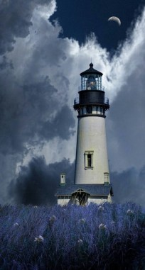lighthouse with moon in background
