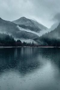 cold rain on lake