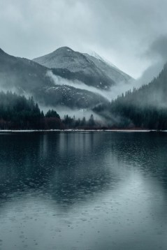 cold rain on lake