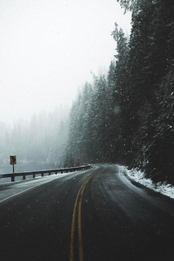 snowy pnw highway