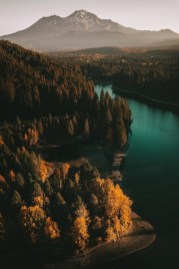 winding lake and mountain