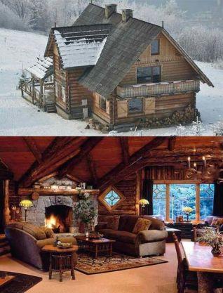 cabin snow interior and exterior