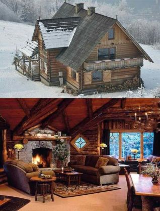 cabin snow interior and exterior