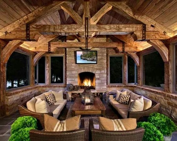 cozy and rustic patio room