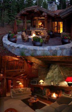 cozy cabin patio and interior