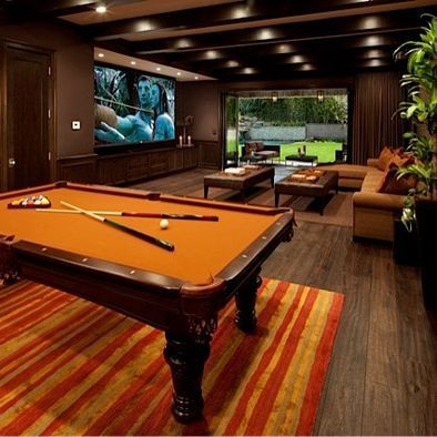game room with big screen