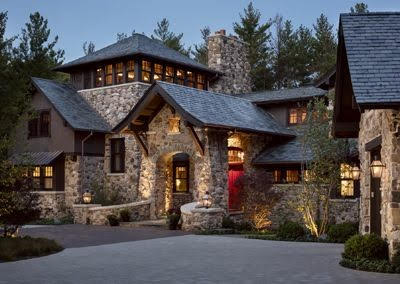 home made of stone and wood
