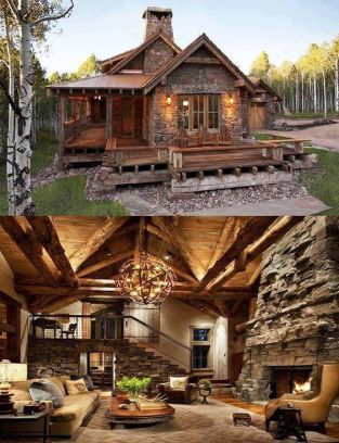 interior and exterior of stone and log cabin