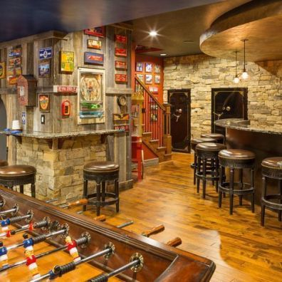 manly basement game room and bar