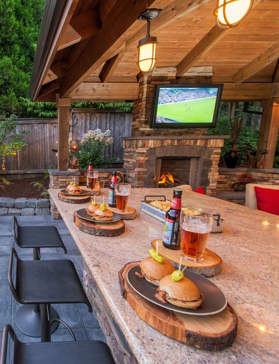 outdoor bar with lcd tv