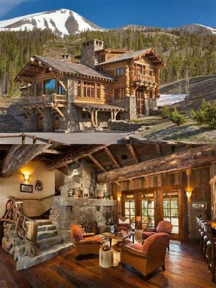 snow country log cabin