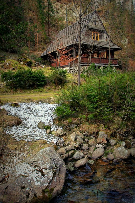 babbling brook outside of cabin