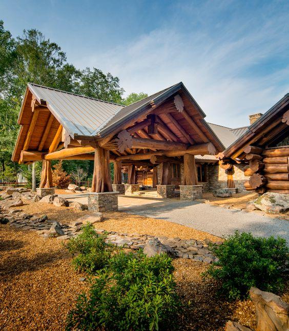 log cabin driveway