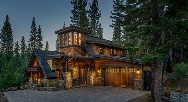 wooden home in the woods