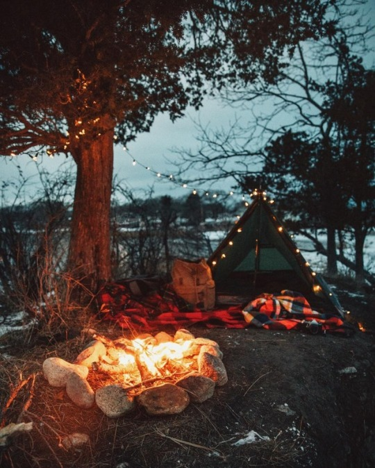 tent and campfire