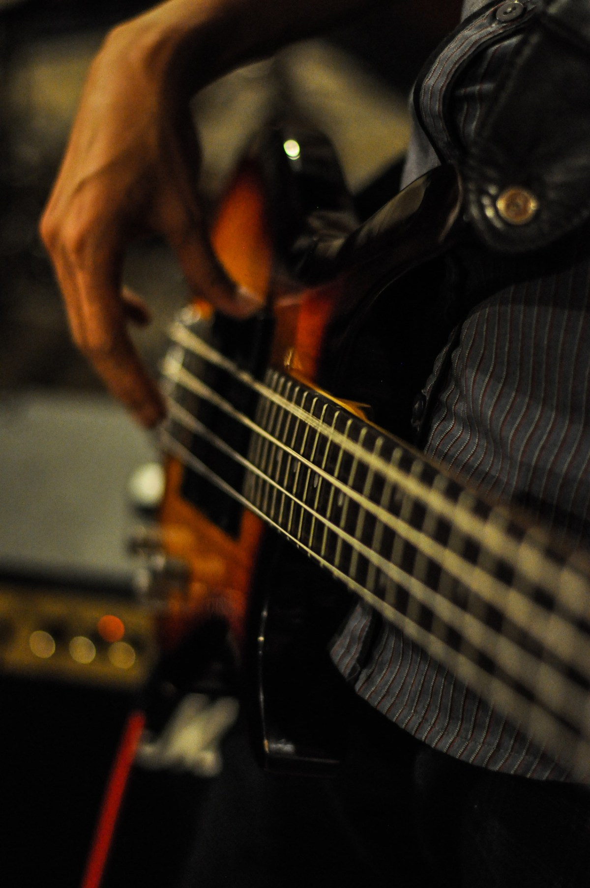 man playing the bass