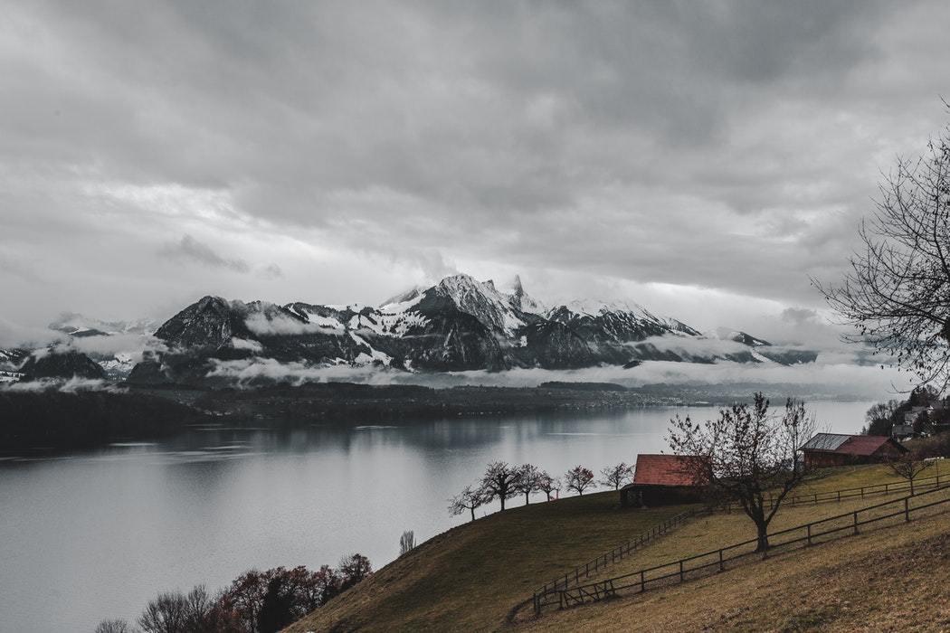 cabin on edge of lake