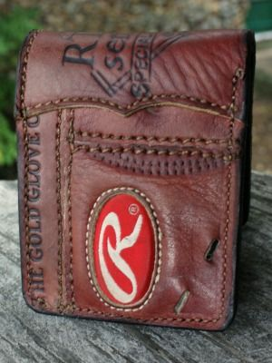 leather wallet made from a rawlings baseball glove