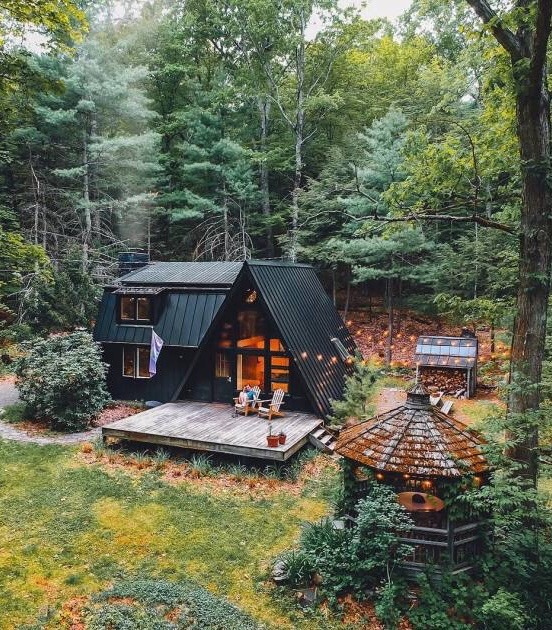summer cabin in the woods