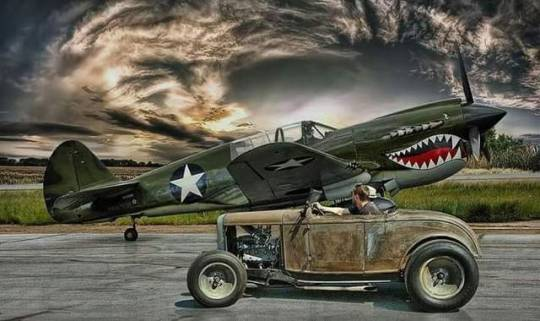 hot rod car and plane