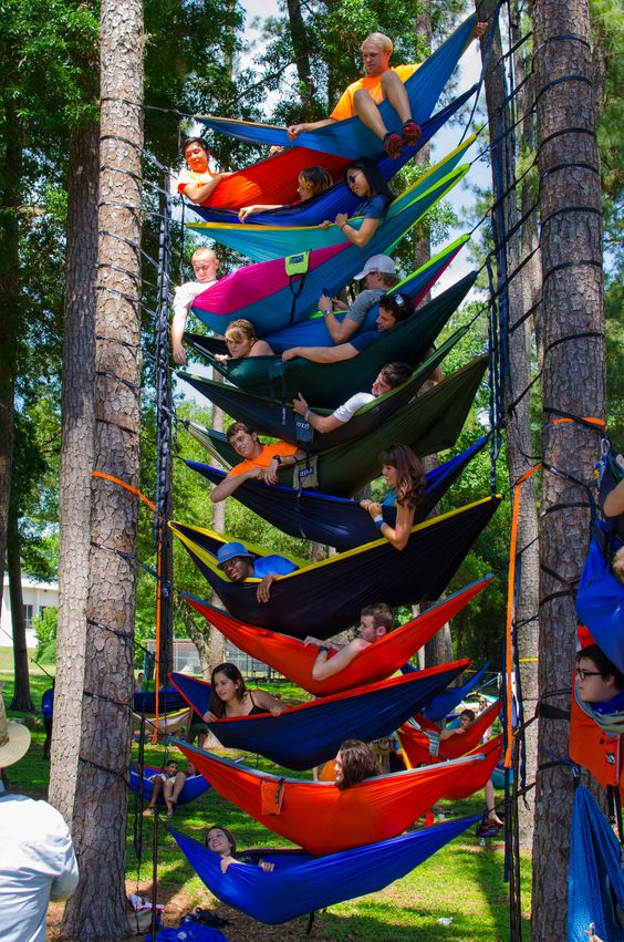 stack of hammocks