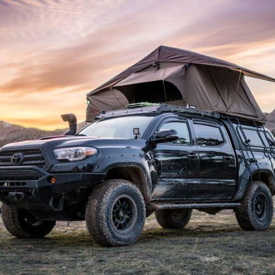 tent on black toyota truck