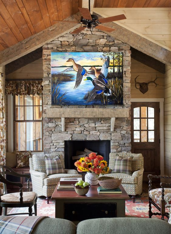 mallard mural above fireplace