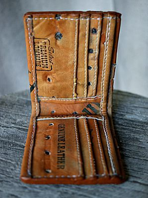 wallet made of leather baseball glove
