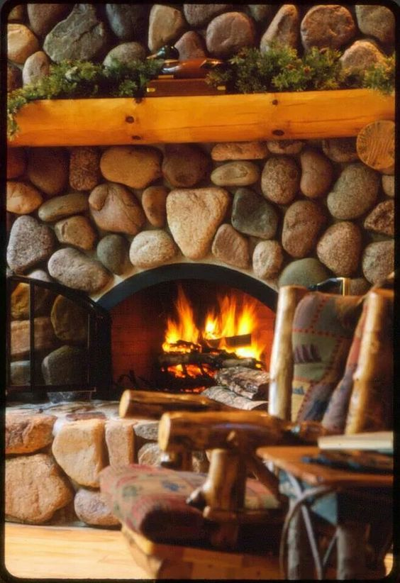 river rock fireplace