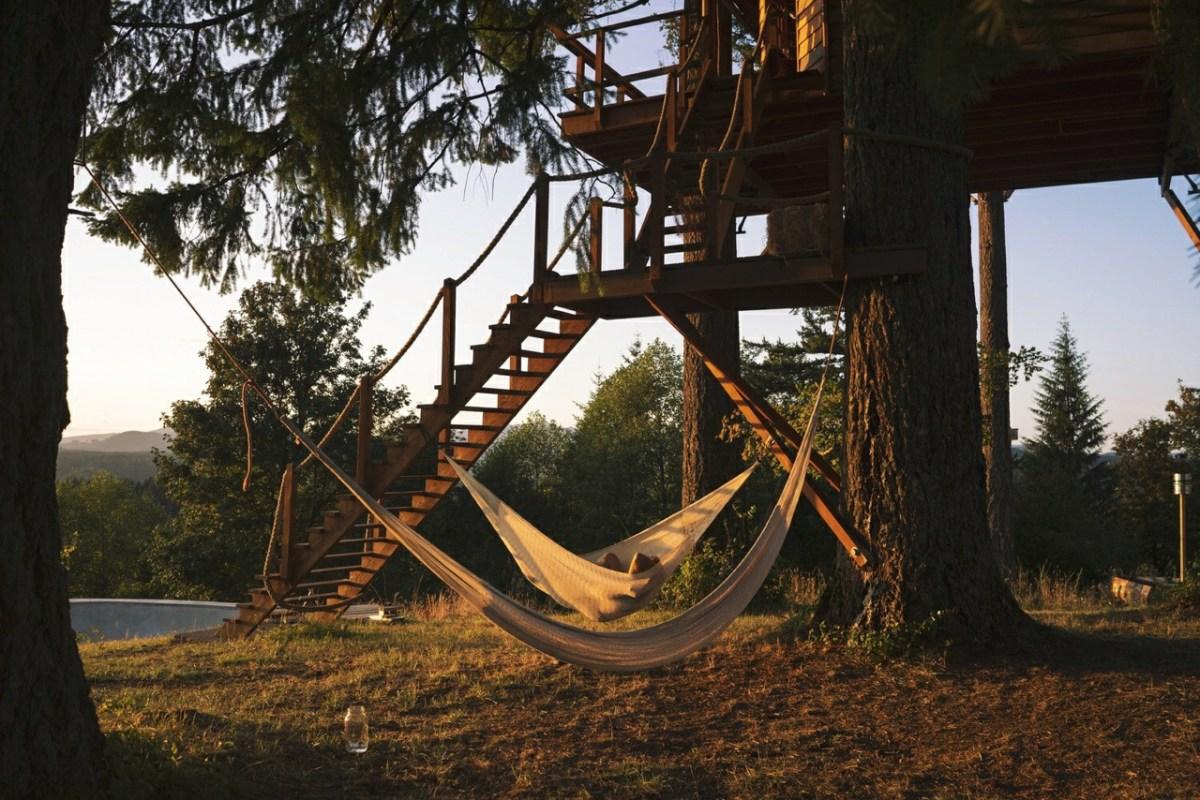 hammock outside of summer cabin