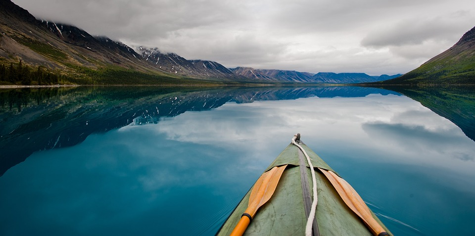 canoe on calm lake