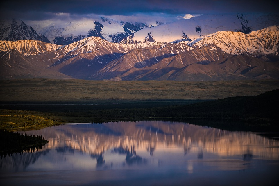 lake with snow capped mountain scene